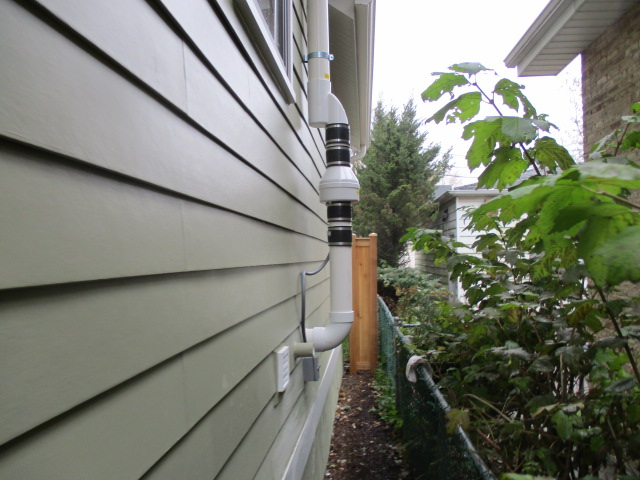 Radon Fax Exterior with Rubber Couplings for Noise Reduction