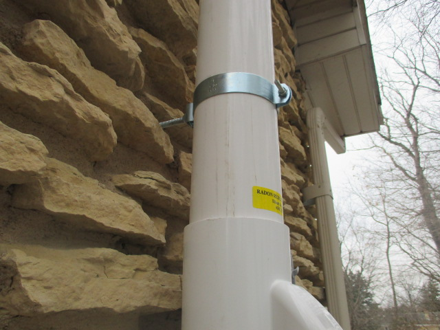 Radon System Exterior Pipe Support